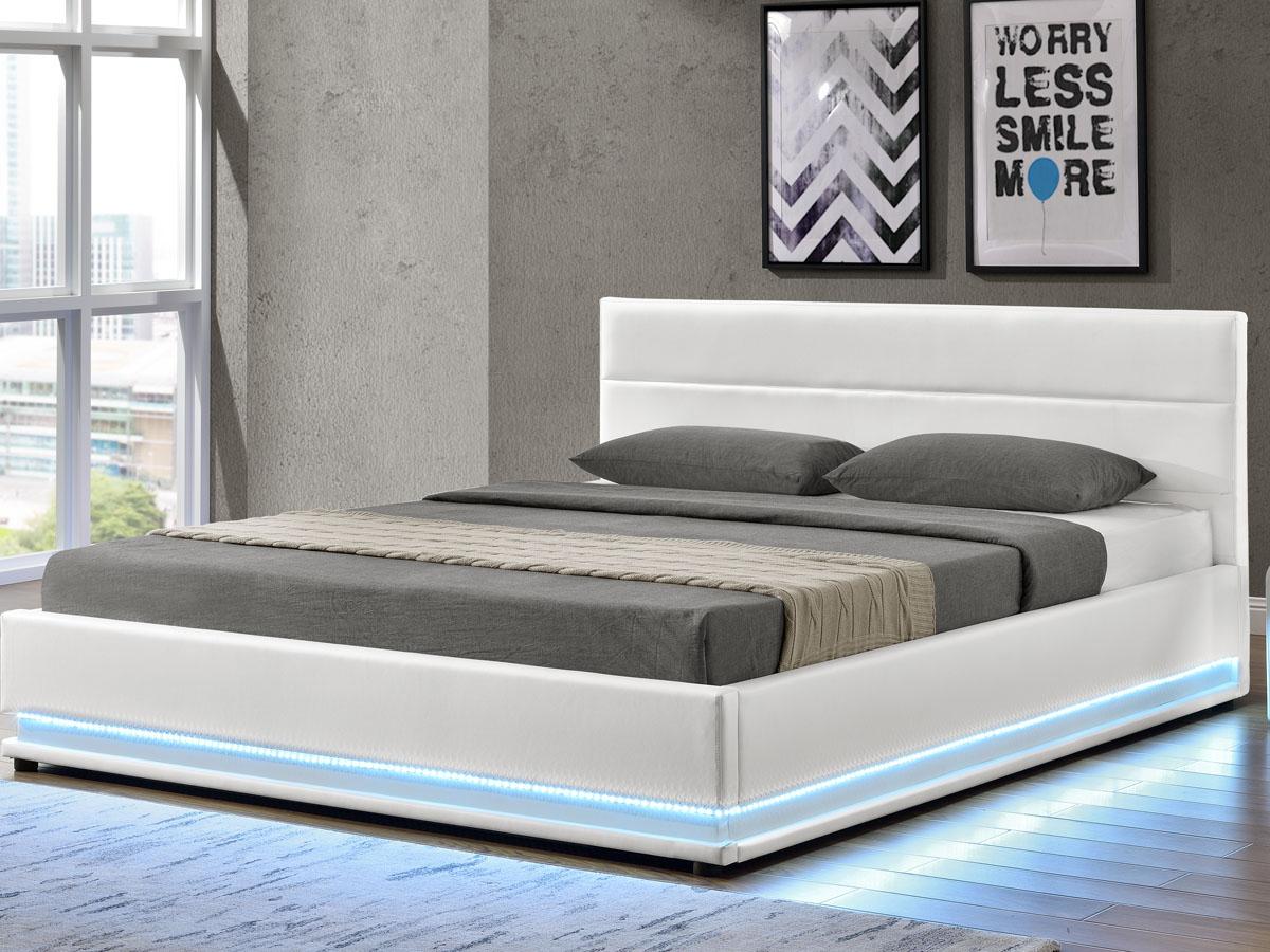 "Lit coffre LED ""Anastasia"" - 160 x 200 cm, Blanc"