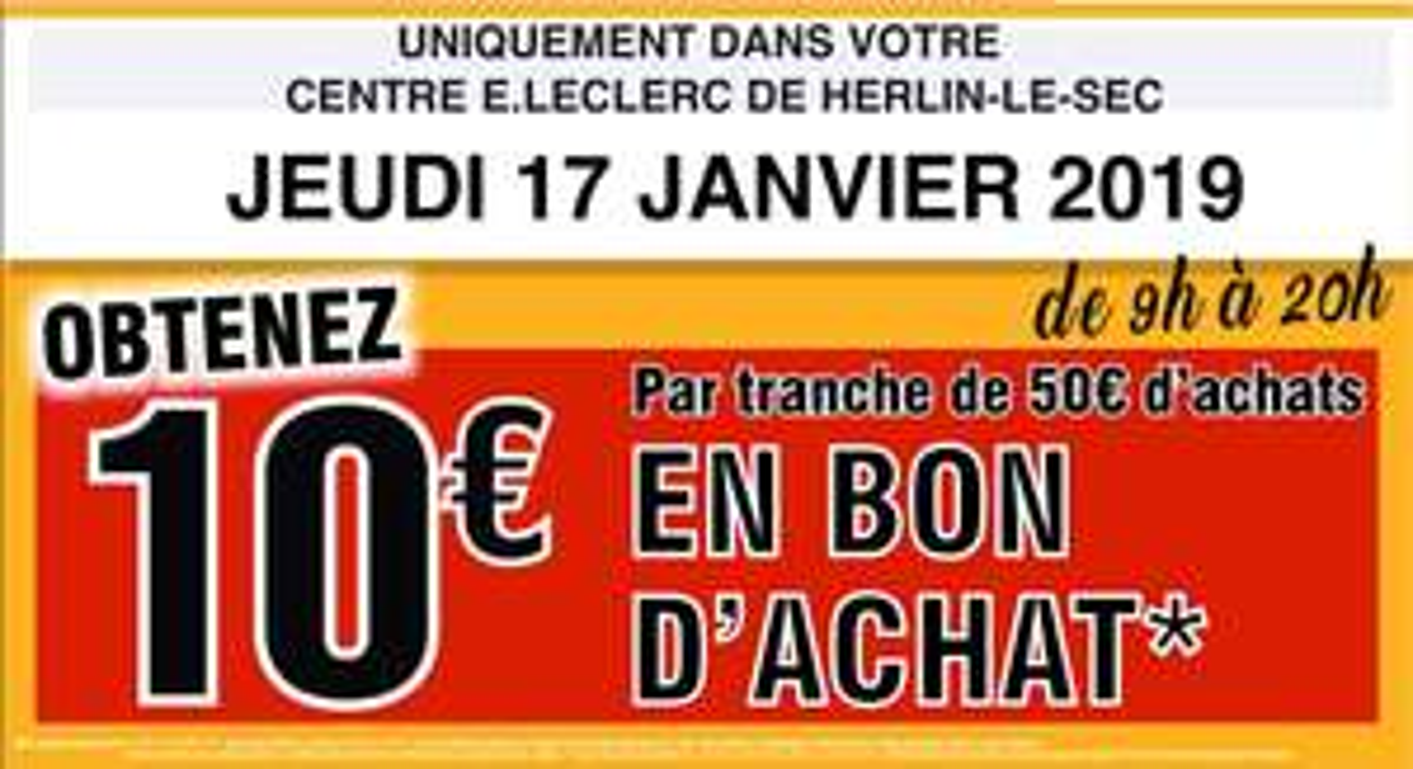 10€ en bon d'achat par tranche de 50 euros d'achats (hors exceptions) - Herlin Le Sec (62)