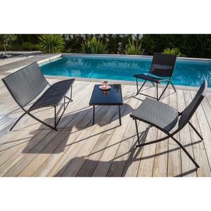 Sélection de mobiliers de jardin - Ex : Salon de jardin en résine tressée (1 table basse + 1 fauteuil double + 2 fauteuils)