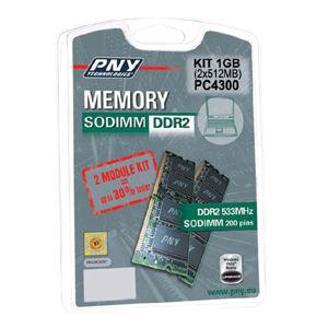 PNY Kit mémoire 1GB (2 x 512 MB) 533MHZ  DDR2 SO DIMM