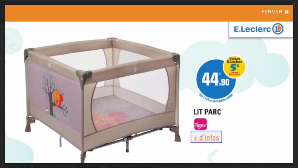 [MAJ] Parc pliant bébé tigex deux en un + matelas + housse de transport (5€ sur la carte de fidélité)