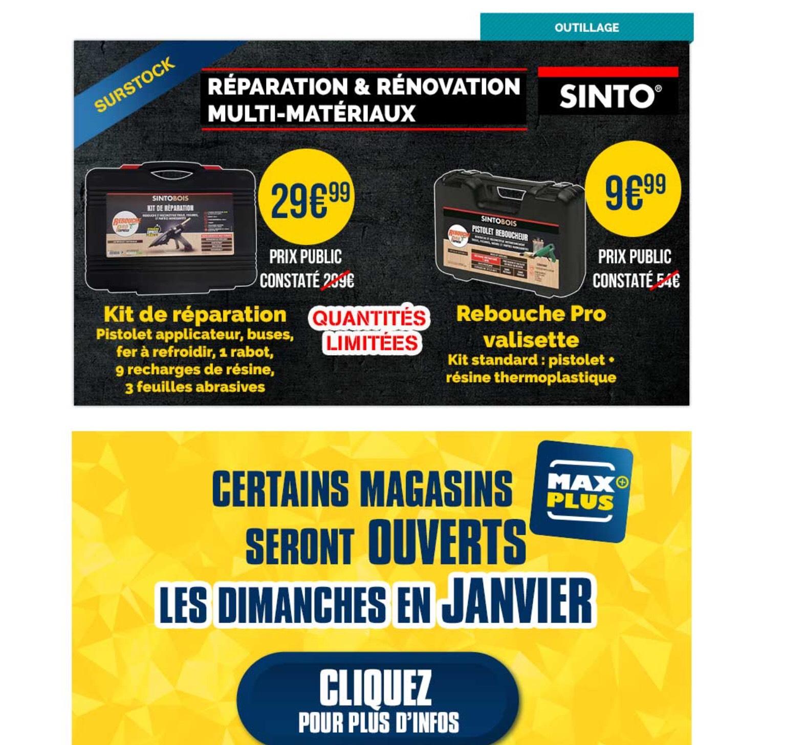Kit de réparation SintoBois -pistolet applicateur, buses, fer à refroidir, rabot + accessoires