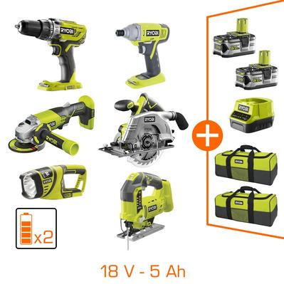 Pack de 6 machines professionnelles Ryobi - 18V + 2 bat Li-ion 5Ah + 2 sacs de transport + chargeur
