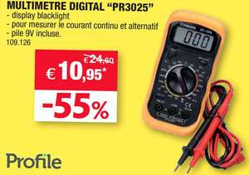 Multimètre numérique Profile PR3025 + Pile incluse