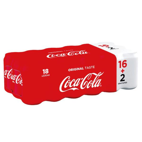 Pack de 18 Canettes de Coca Cola - 18 x 33cl