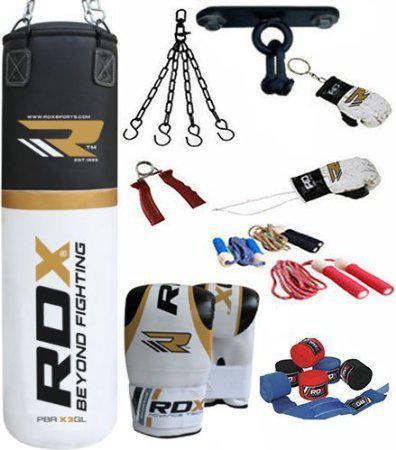 Sac de frappe RDX avec fixations, gants et divers accessoires (45x150cm, 28kg) - Blanc/or