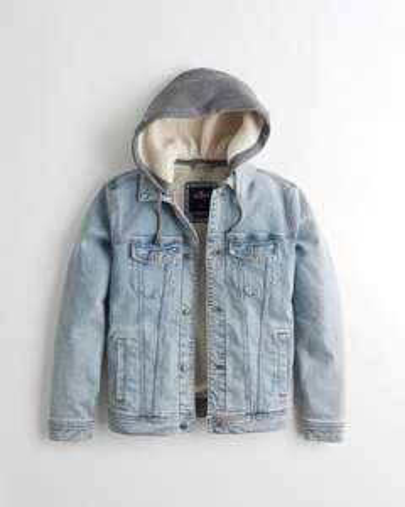 Veste en jean à capuche doublé en Sherpa Hollister