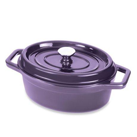 Cocotte en fonte ovale 29 cm 3,5 L aubergine