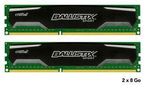 Sélection kits mémoire Crucial Ballistix Sport - Ex : Kit 2 x 8 Go (16 Go) - DDR3 1600 MHz Cas 9
