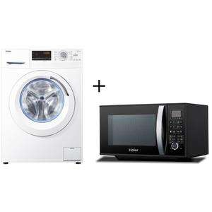 Pack Lave linge Haier HW09-14CMF - 9kg, 1400 tours + Micro-ondes Grill HGN-2390HEMGB - 23L, 900 W