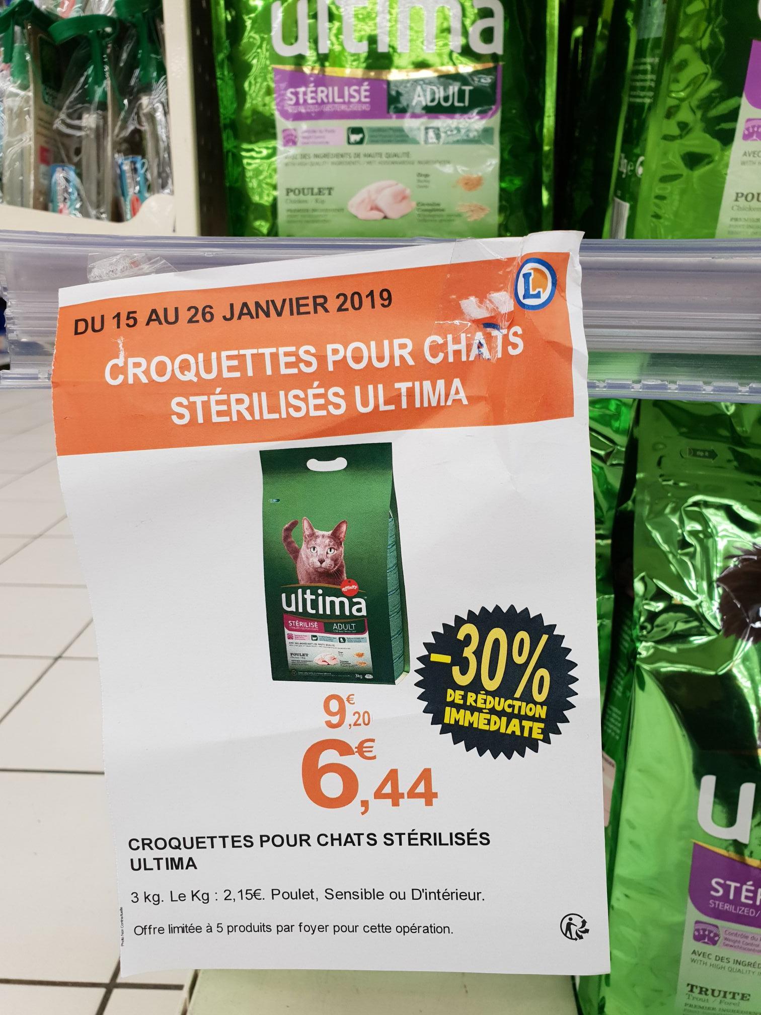 Paquet de croquettes pour Chat Adult ULTIMA 3kg (Dinde ou Saumon) - Orly (94)
