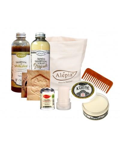 Trousse de vacances Alepia Bio - Déodorant, beurre de Karité, savon d'Alep, shampoing, Après shampoing, peigne
