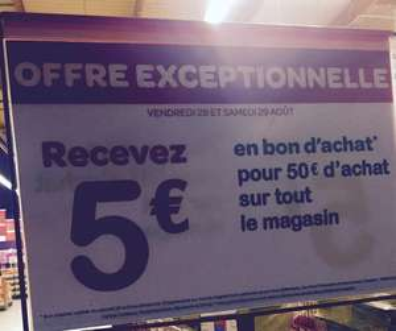 5€ offert en bons d'achats dès 50€ d'achats