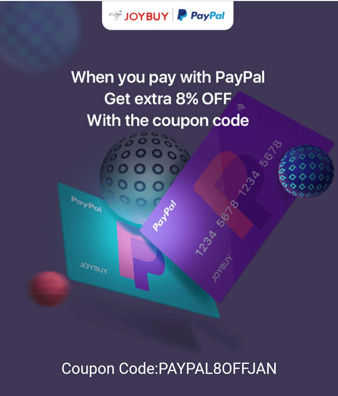 8% de réduction en payant via Paypal sur sélection (dès 1$ d'achat et jusqu'à 35$ de réduction)