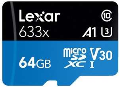 Carte mémoire Micro SDXC Lexar 633x - 64 Go + Adaptateur