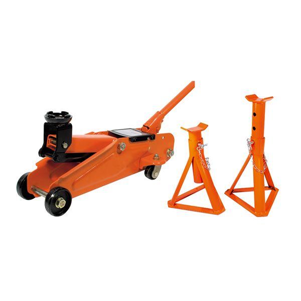 Pack Levage : 1 cric Hydraulique roulant 1,5T + 2 Chandelles fixes 2T