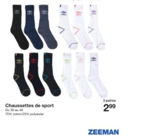 Lot de 3 paires de chaussettes de sport Umbro