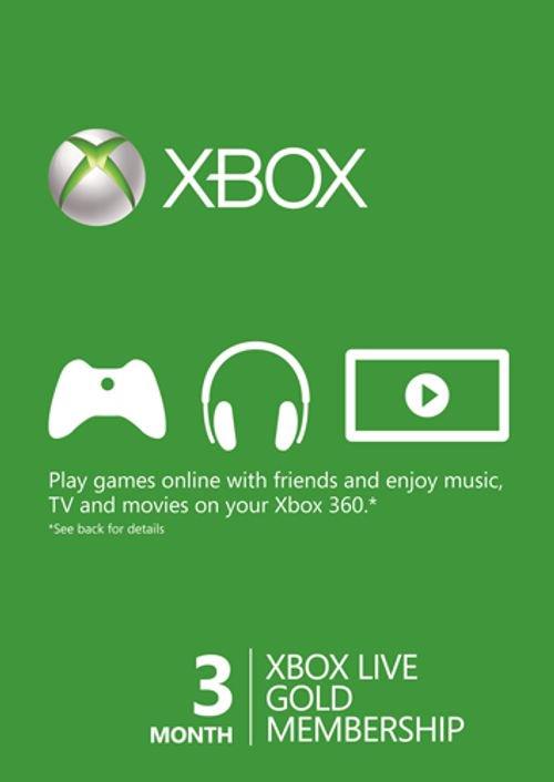 Abonnement Xbox Live Gold - 3 Mois + 1 mois gratuit  (Dématérialisé)
