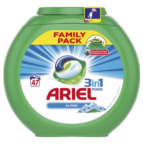 Boîte de 47 capsules de Lessive Ariel 3-en-1 Pods Original, Alpine ou Fresh Sensations (via 11,52€ sur la carte de fidélité + BDR de 1,80€)