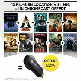 Clé HDMI multimédia Google Chromecast + 10 films en location