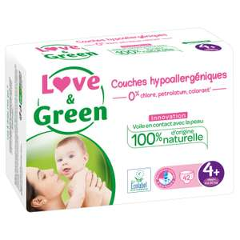 2 Packs de 42 Couches Love & Green T4, 9-20Kg