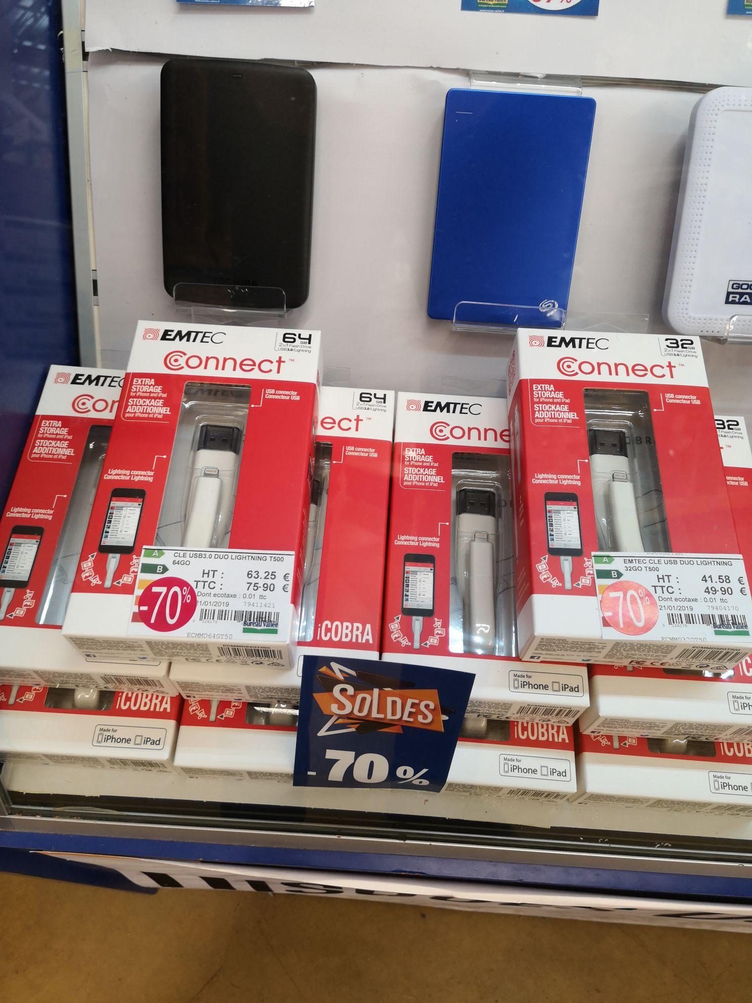 Clé USB / Lightning Emtec Connect Duo T500 (32 à 14.97€ ou 64 Go à 22.77€) - Les Herbiers (85)
