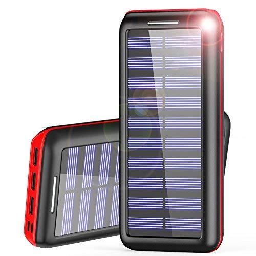 Batterie externe AKEEM (recharge à l'énergie solaire et par câble) - 24000 mAh (vendeur tiers)