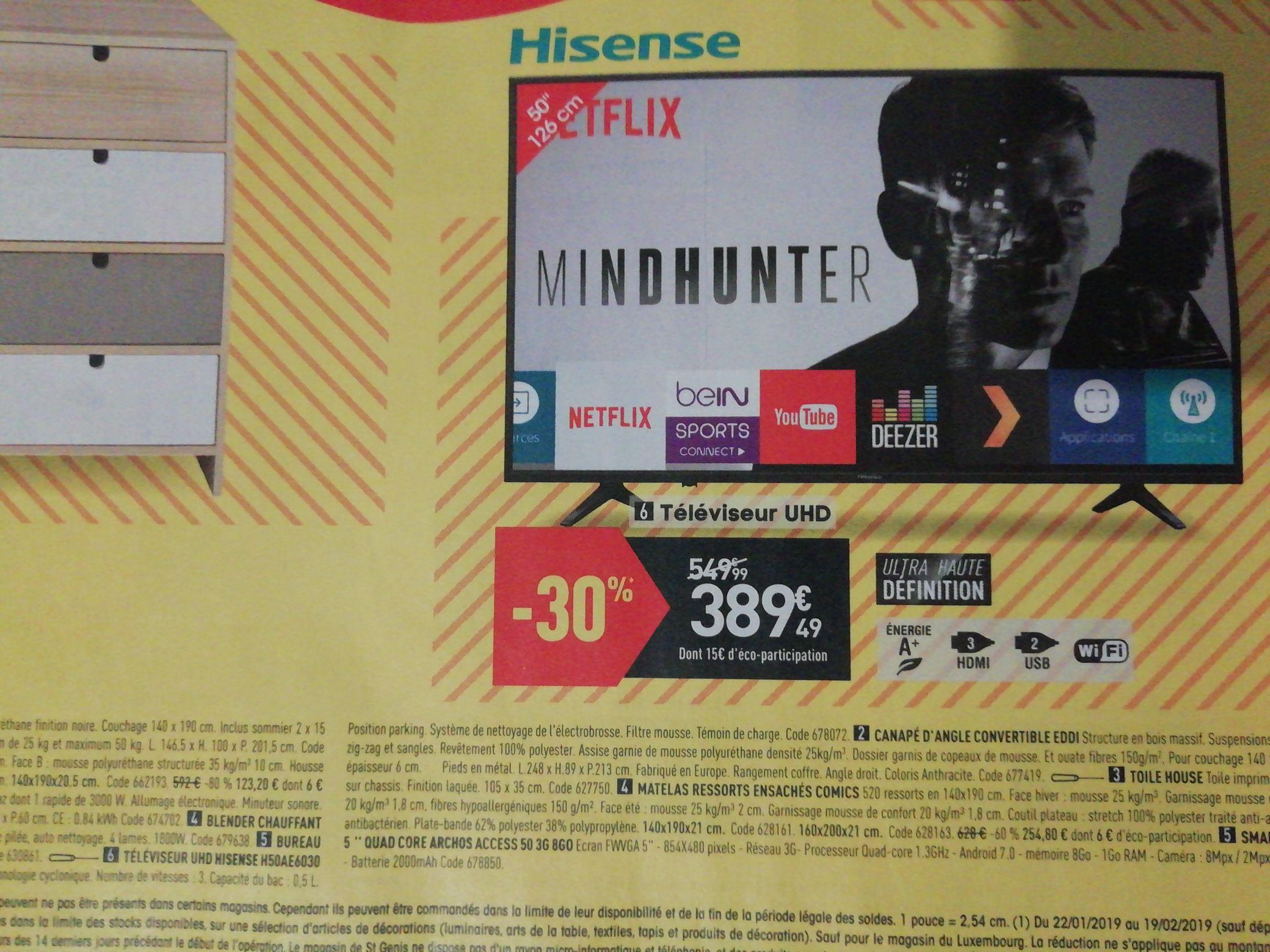 "TV 50"" Hisense H50AE6030 - UHD, Smart TV"