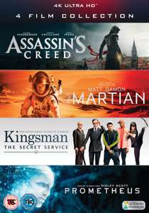 Coffret Blu-ray UHD 4K 4 Film Collection - Assassin's Creed + Kingsman + Prometheus + The Martian