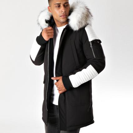 Sélection de vêtements en promotion - Ex : parka fourrure LBO Premium Racer Competition - blanc / noir (du S au L)