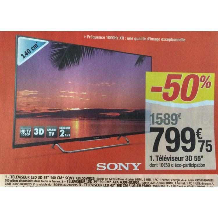 """TV  55"""" Sony KDL55W829 - 3D -  Smart TV"""