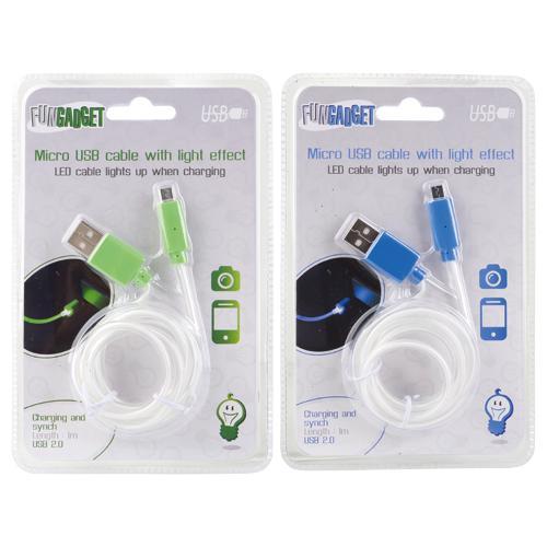 Câble USB / micro-USB lumineux à LED - 1 mètre