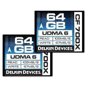 Pack de 2 Cartes Mémoire CompactFlash 700x Delkin 64Go (Vitesse de lecture 105 Mo/s)