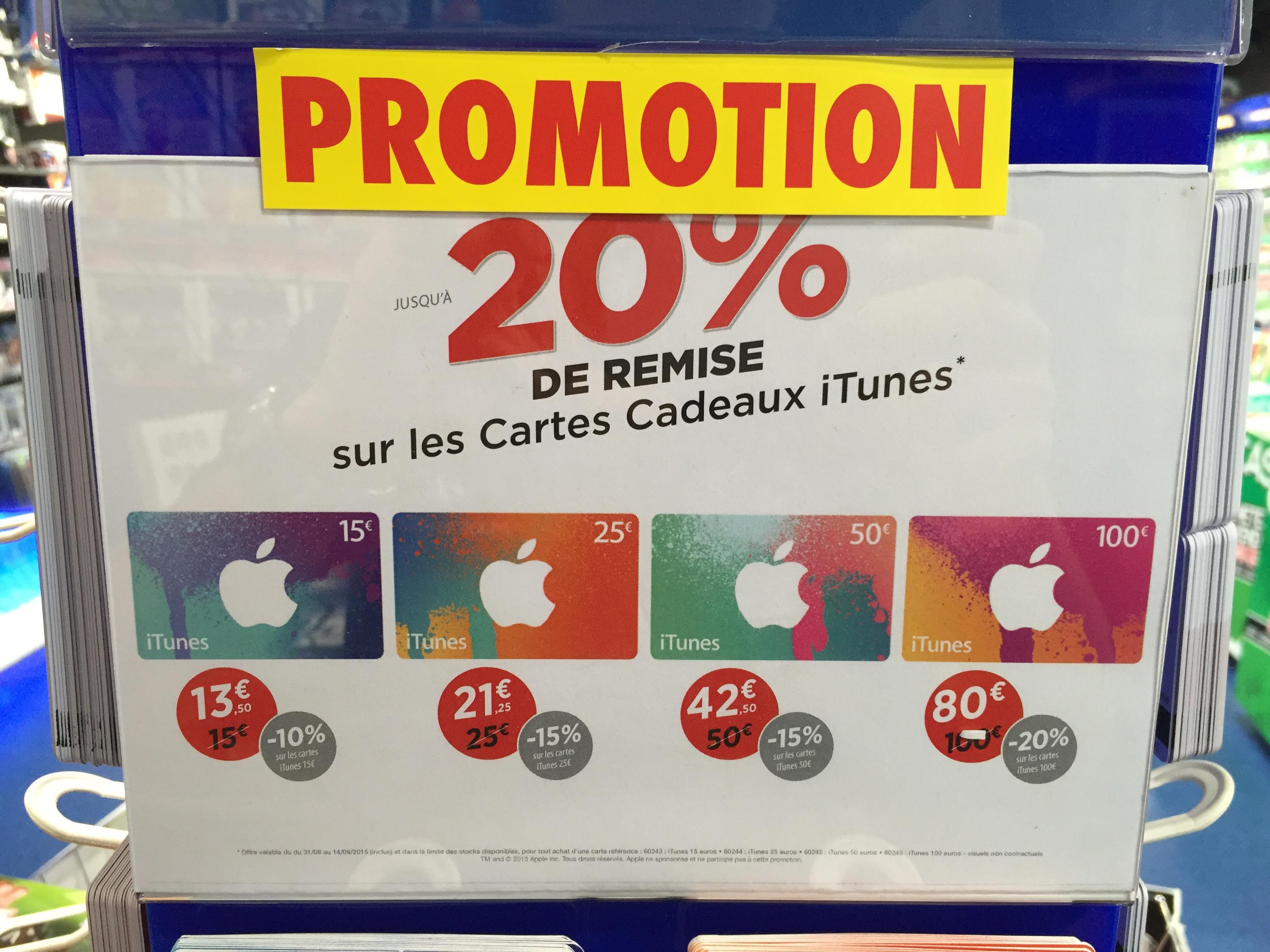 Jusqu'à 20% de réduction sur toutes les cartes AppStore & iTunes