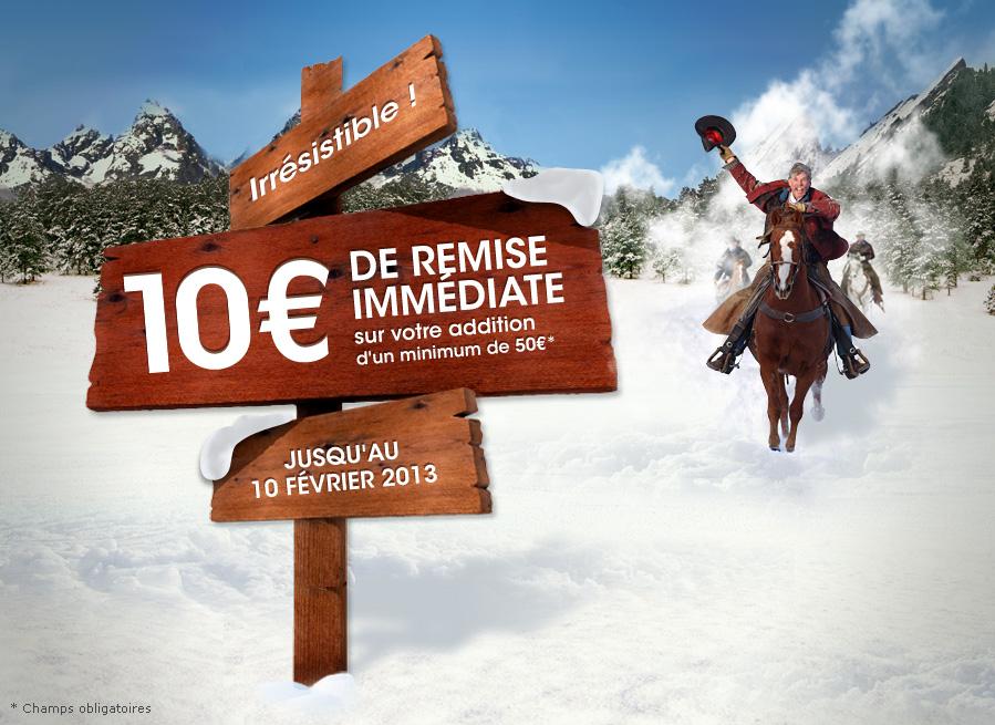 10€ de réduction sur une addition de 50€