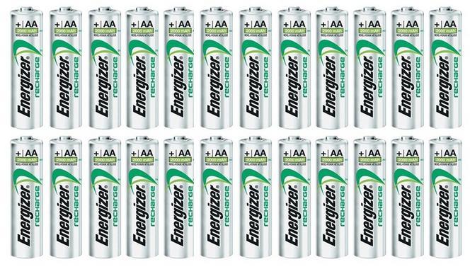 Pack de 24 piles rechargeables Energizer HR6 AA 2000mAh