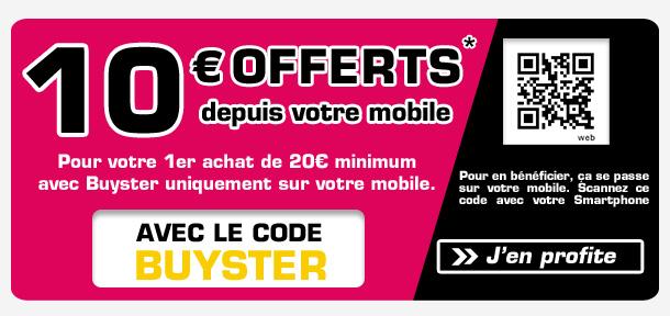 10€ de réduction à partir de 20€ d'achat, en payant via Buyster
