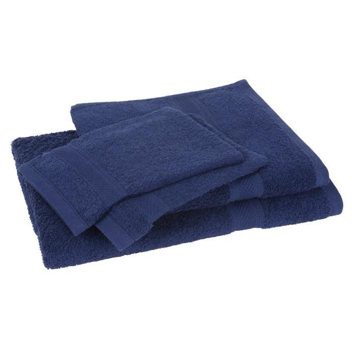 Lot de 1 drap de bain + 1 serviette + 2 gants - 100% coton - 4 coloris disponibles - Ex: Lot Bleu Marine