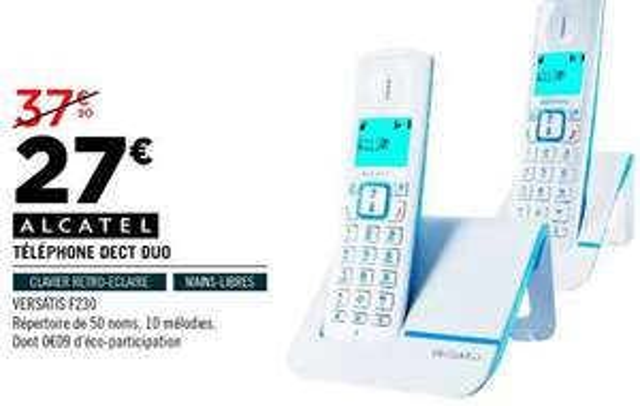 Téléphone fixe Alcatel F230 Duo - Bleu