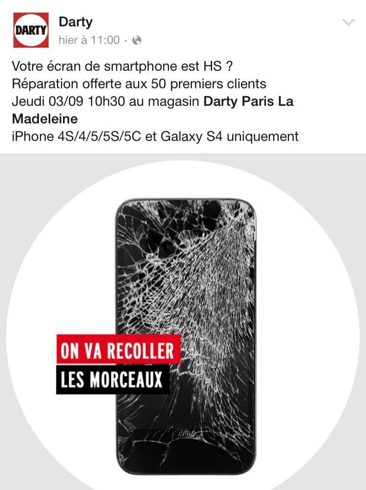 Réparation d'écran HS offerte aux 50 premiers clients sur les iPhone 4/4S/5/5C/5S et Galaxy S4