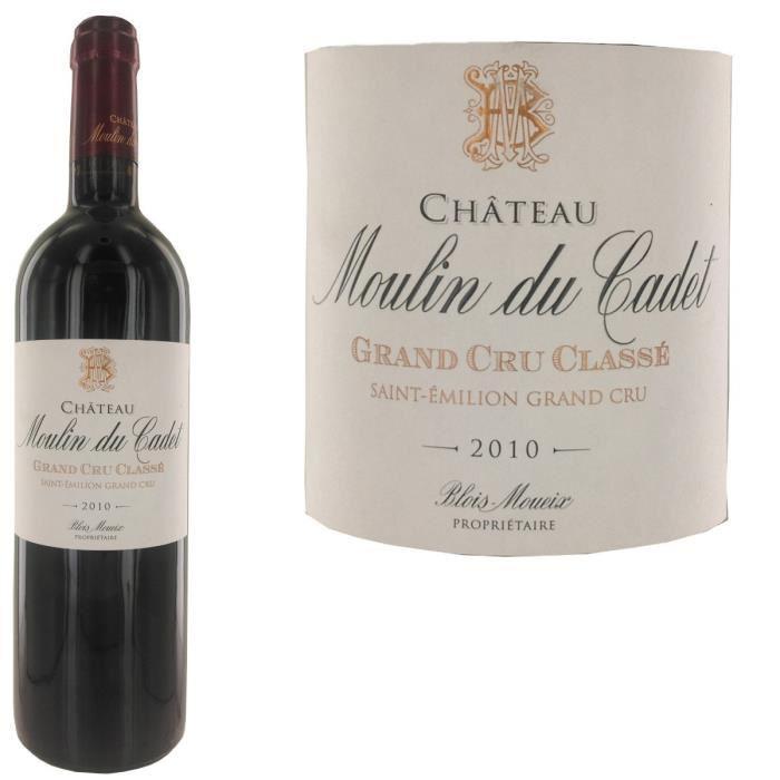 Bouteille de vin rouge Château Moulin du Cadet St Emilion Gd Cru Classé 2010