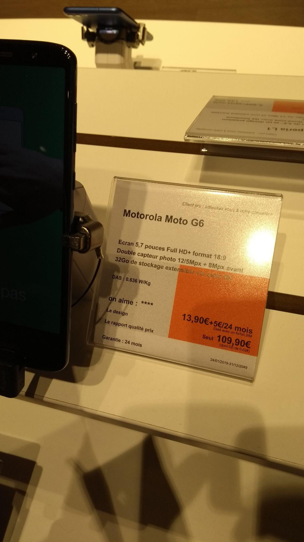 Smartphone 5.7 pouces Motorola Moto G6 (HD+, 32 Go) - St Herblain (44)