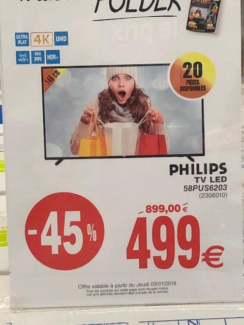 "TV 58"" Philips 58PUS6203 - 4K UHD, LED, Smart TV - Messancy (Frontalier Belgique)"
