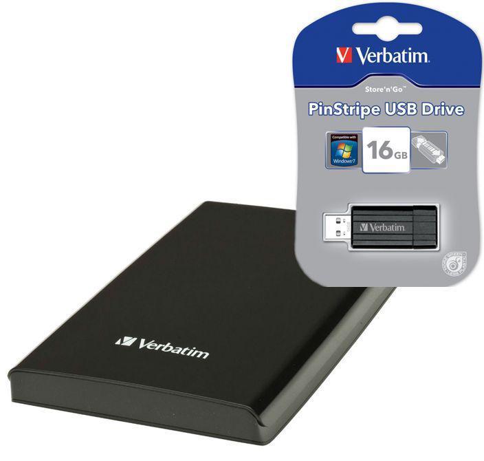 """Bundle : Disque Dur externe 2.5"""" Verbatim   USB 3.0 1To Store 'n' Go Noir + 1 clé 16 Go"""