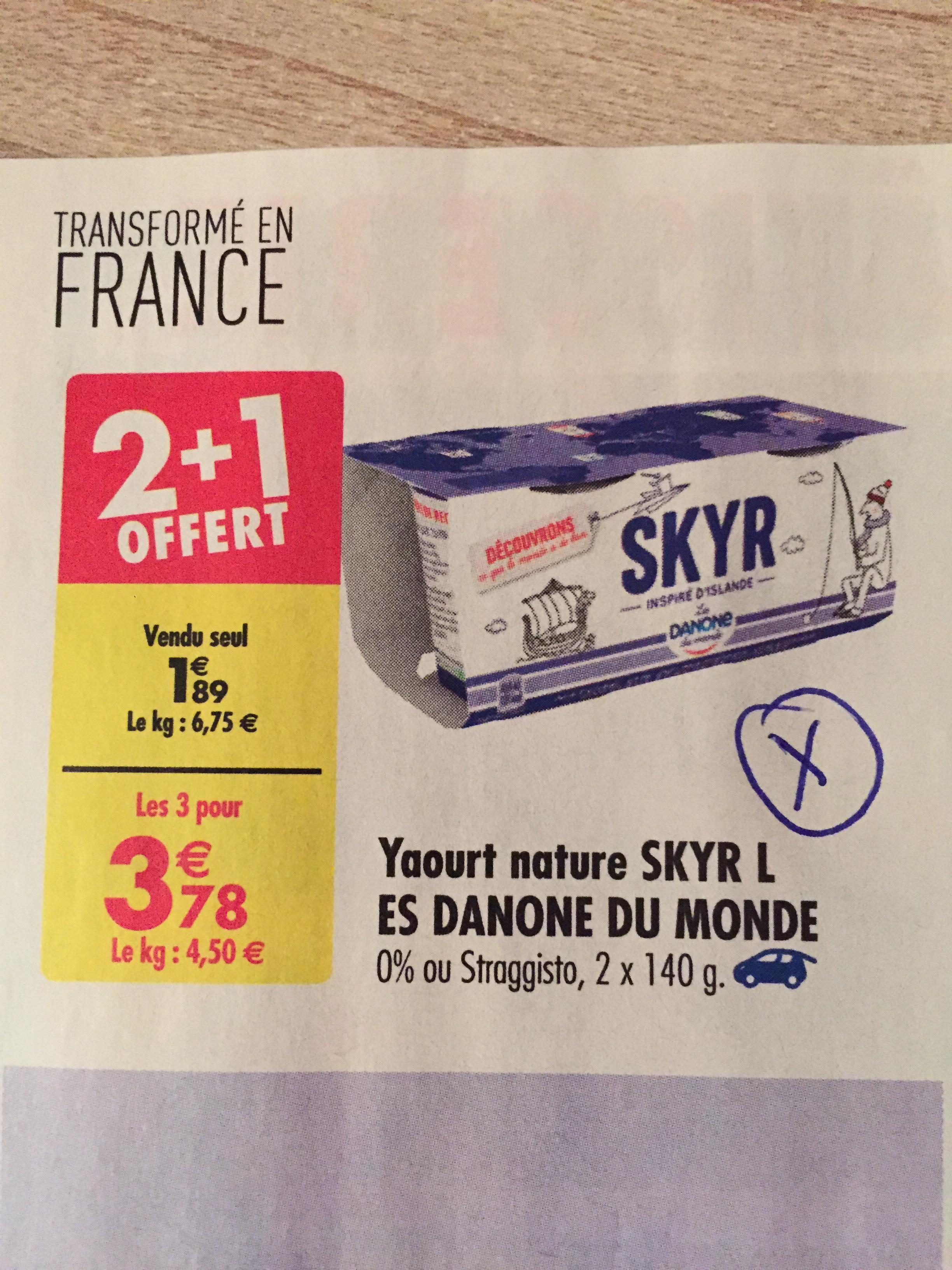 Yaourts nature Skyr de Danone 2+1 gratuit