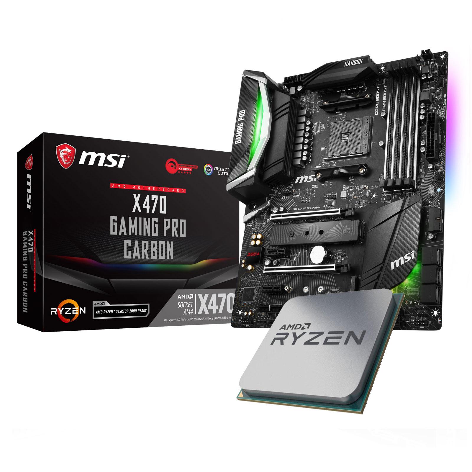 Kit Upgrade Processeur AMD Ryzen 7 2700X + Carte mère MSI X470 GAMING PRO Carbon