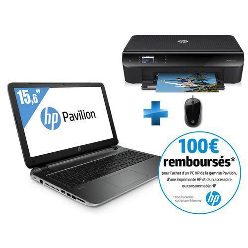 "Pc portable 15.6"" HP Pavilion 15-P236NF (Full HD -  i3-5010U  + Imprimante HP Envy 4503 + Souris filaire HP) (ODR 100€)"