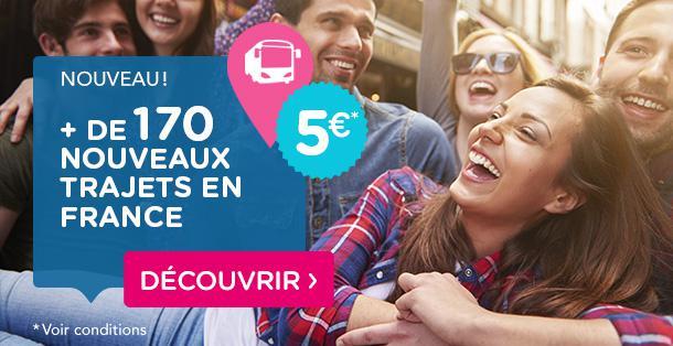 Sélection de trajets en bus en promo - Ex : Aller simple Paris - Strasbourg