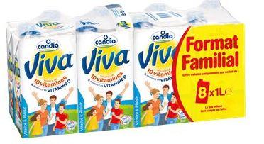 2 Packs de 8 briques de lait Viva - 16 x 1L