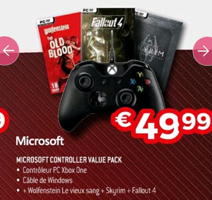 Manette Xbox One + Câble pour Windows + Skyrim + Wolfenstein + Fallout 4 sur PC ( Exellent - Frontaliers Belgique)